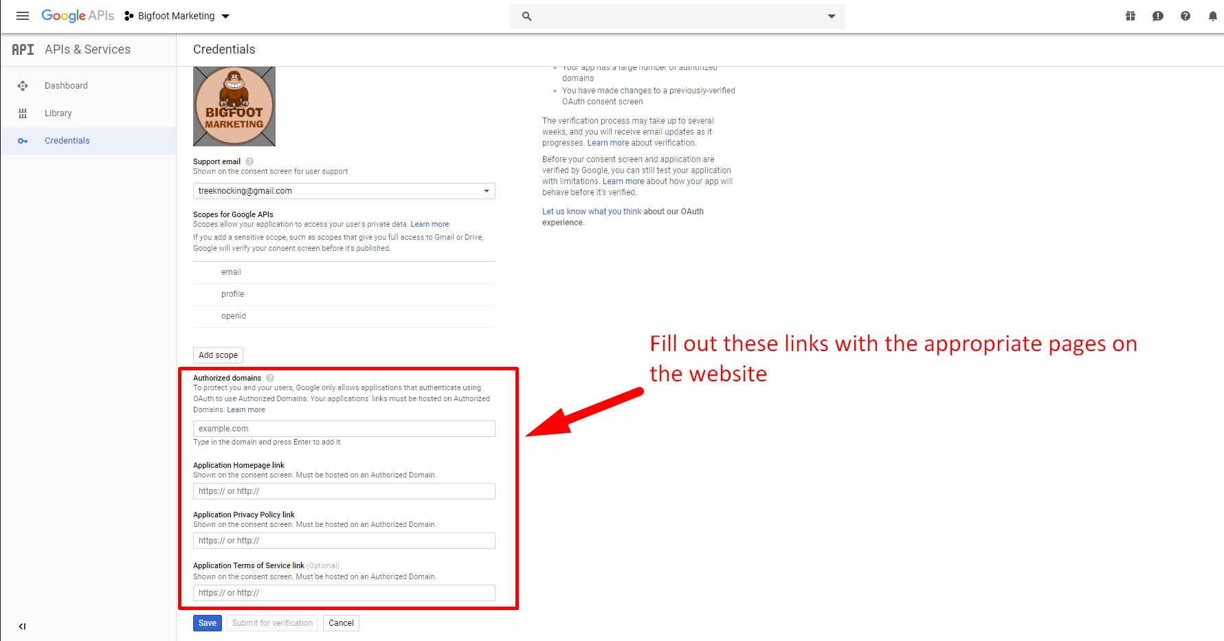 Step 16. Fill out the OAuth consent screen with your domain and links to pages