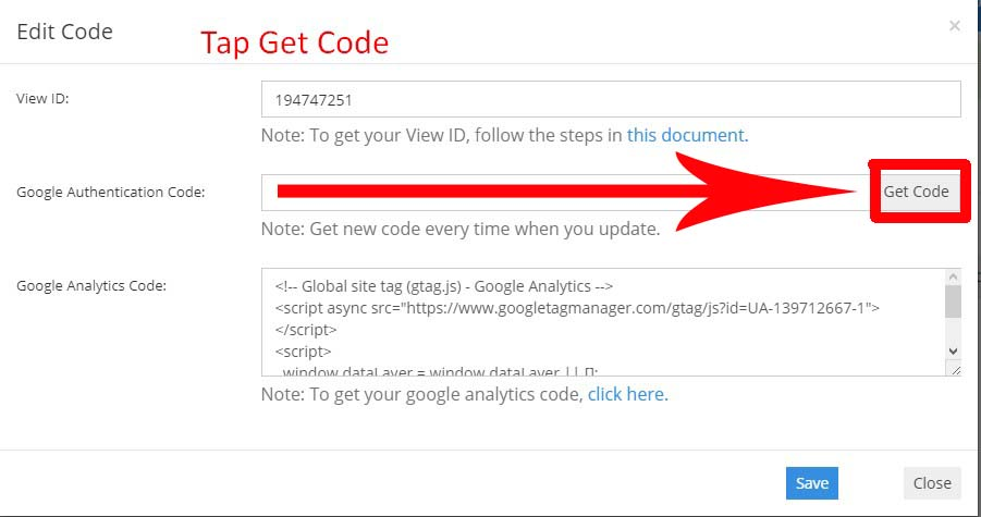 Step 23.  In CMS, tap the Get Code Button