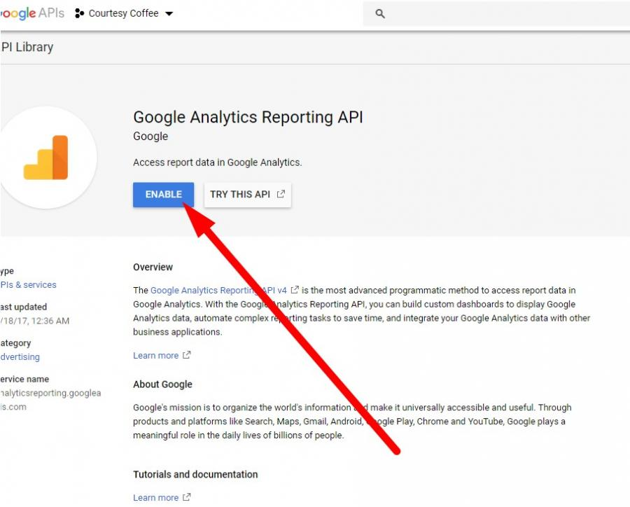enable google analytics api